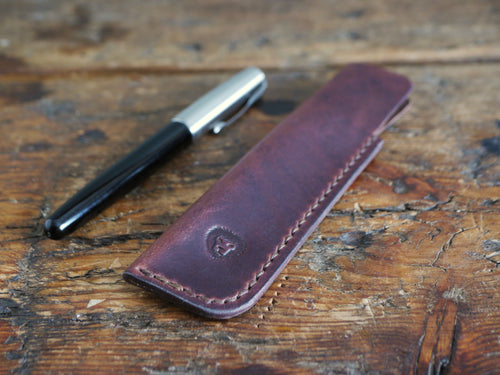 Leather Pen Case - Dark Brown