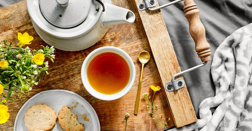 tea and buscuits on a tray