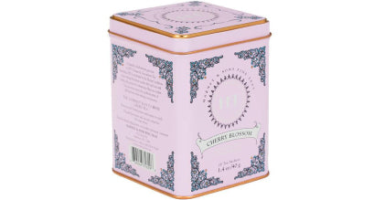 a pink tin of tea