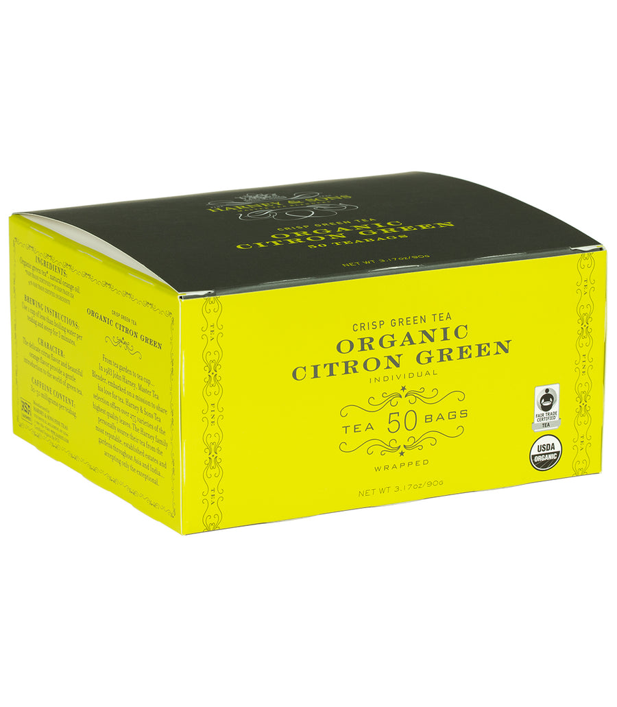 Organic Citron Green, Box of 50 Foil Wrapped Teabags -   - Harney & Sons Fine Teas