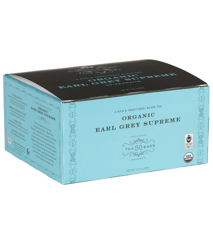 Organic Earl Grey Supreme, Box of 50 Foil Wrapped Teabags -   - Harney & Sons Fine Teas