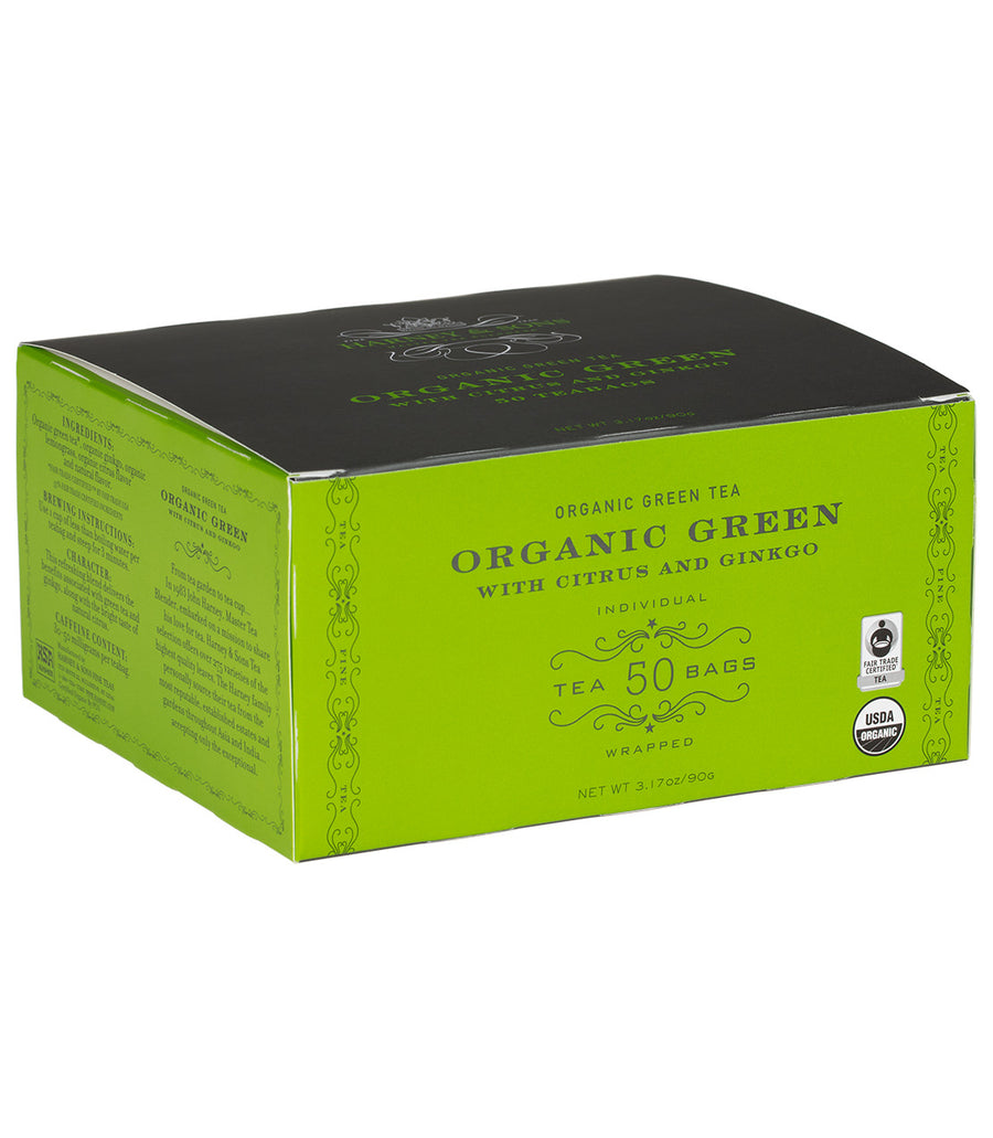 Organic Green with Citrus & Ginkgo, Box of 50 Foil Wrapped Teabags -   - Harney & Sons Fine Teas