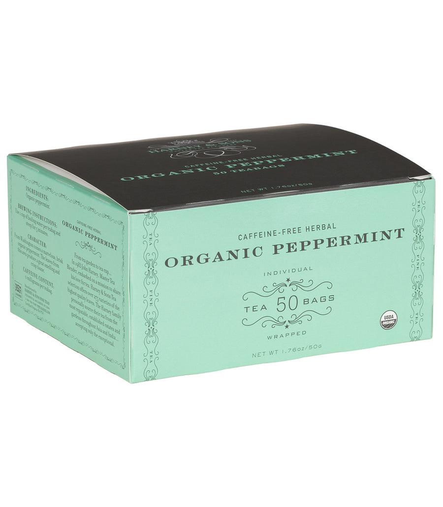 Organic Peppermint Herbal, Box of 50 Foil Wrapped Teabags -   - Harney & Sons Fine Teas