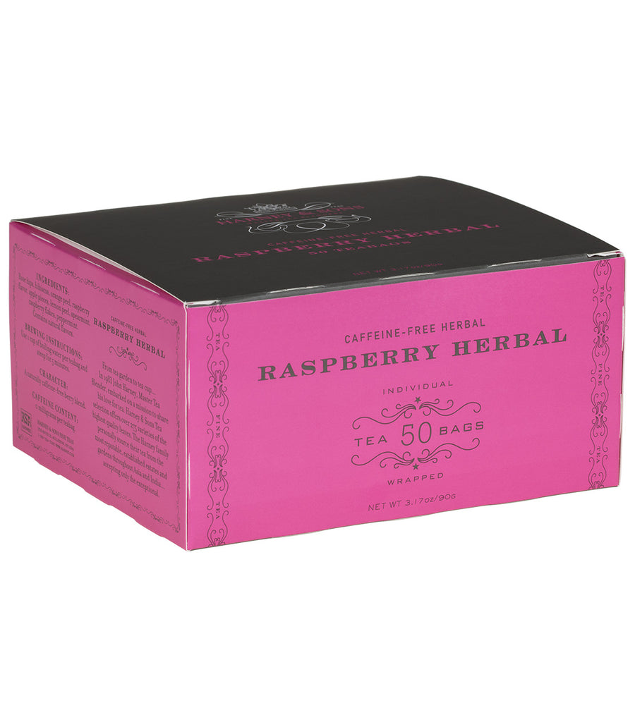 Raspberry Herbal, Box of 50 Foil Wrapped Teabags -   - Harney & Sons Fine Teas