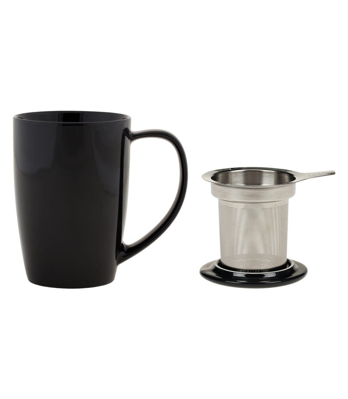 White FORLIFE Curve Tall Tea Mug with Infuser and Lid 15 ounces