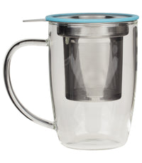 NewLeaf Glass Tall Tea Mug - Turquoise  - Harney & Sons Fine Teas