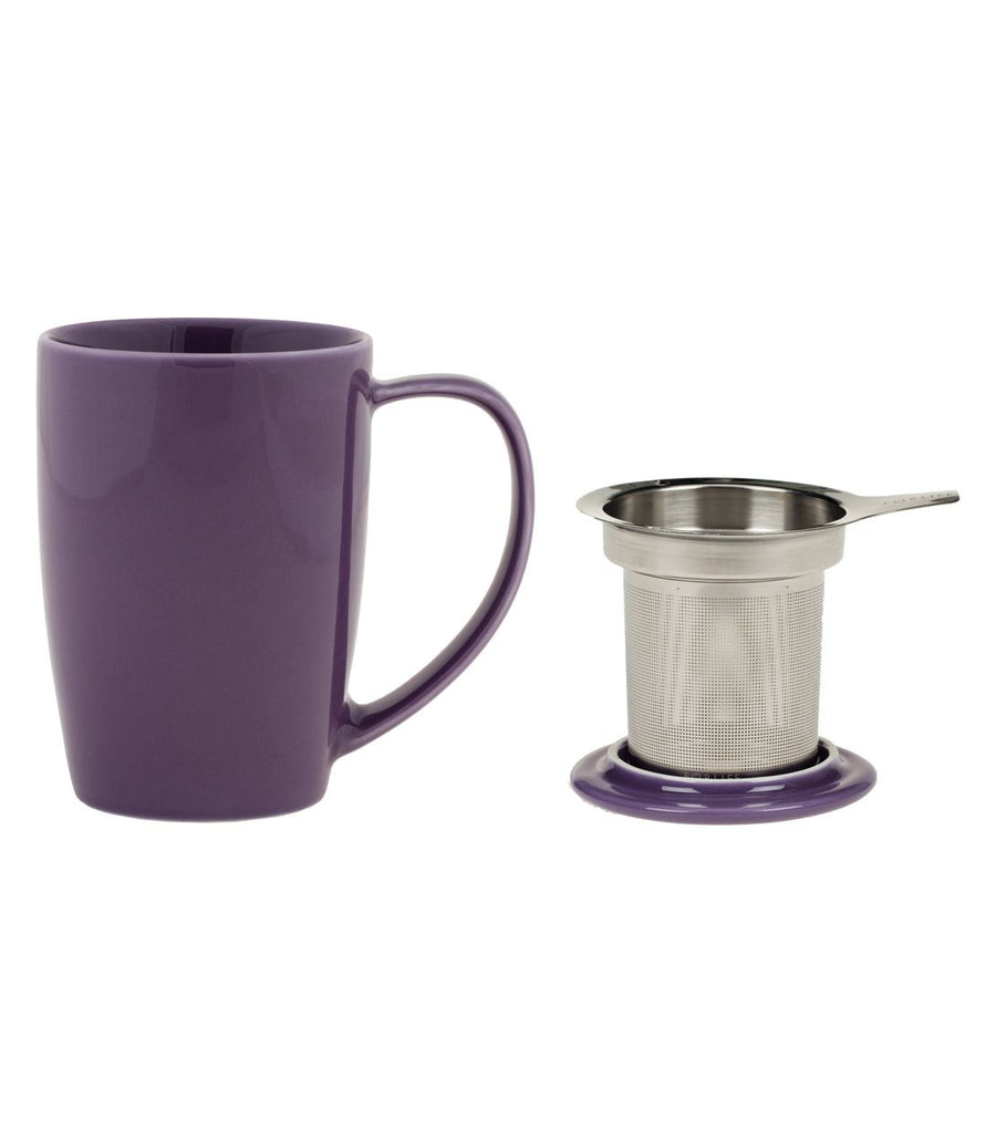 Curve Mug with Infuser 15 oz (Multiple colors) - Graphite  - Harney & Sons Fine Teas