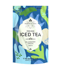 Blueberry Green Fresh Brew Iced Tea - Iced Tea Pouches Bag of 15 Pouches - Harney & Sons Fine Teas