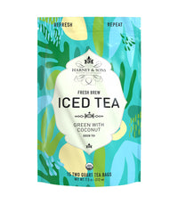 Organic Green with Coconut Fresh Brew Iced Tea - Iced Tea Pouches Bag of 15 Pouches - Harney & Sons Fine Teas