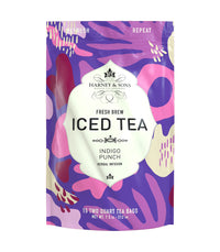 Indigo Punch Fresh Brew Iced Tea - Iced Tea Pouches Bag of 15 Pouches - Harney & Sons Fine Teas