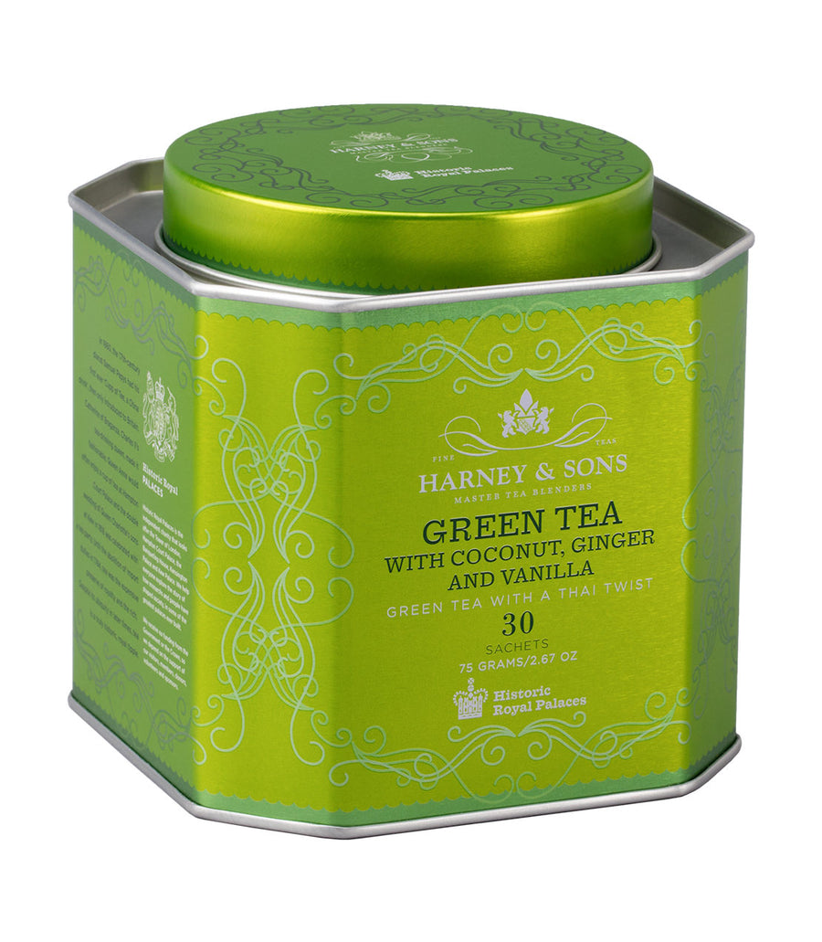Green Tea with Coconut, Ginger & Vanilla, HRP Tin of 30 Sachets -   - Harney & Sons Fine Teas