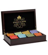 Wooden Tea Chest in Brown Featuring Eight Teas -   - Harney & Sons Fine Teas