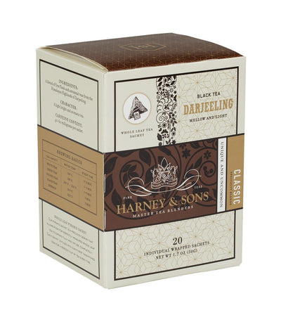 Darjeeling - Sachets Box of 20 Individually Wrapped Sachets - Harney & Sons Fine Teas