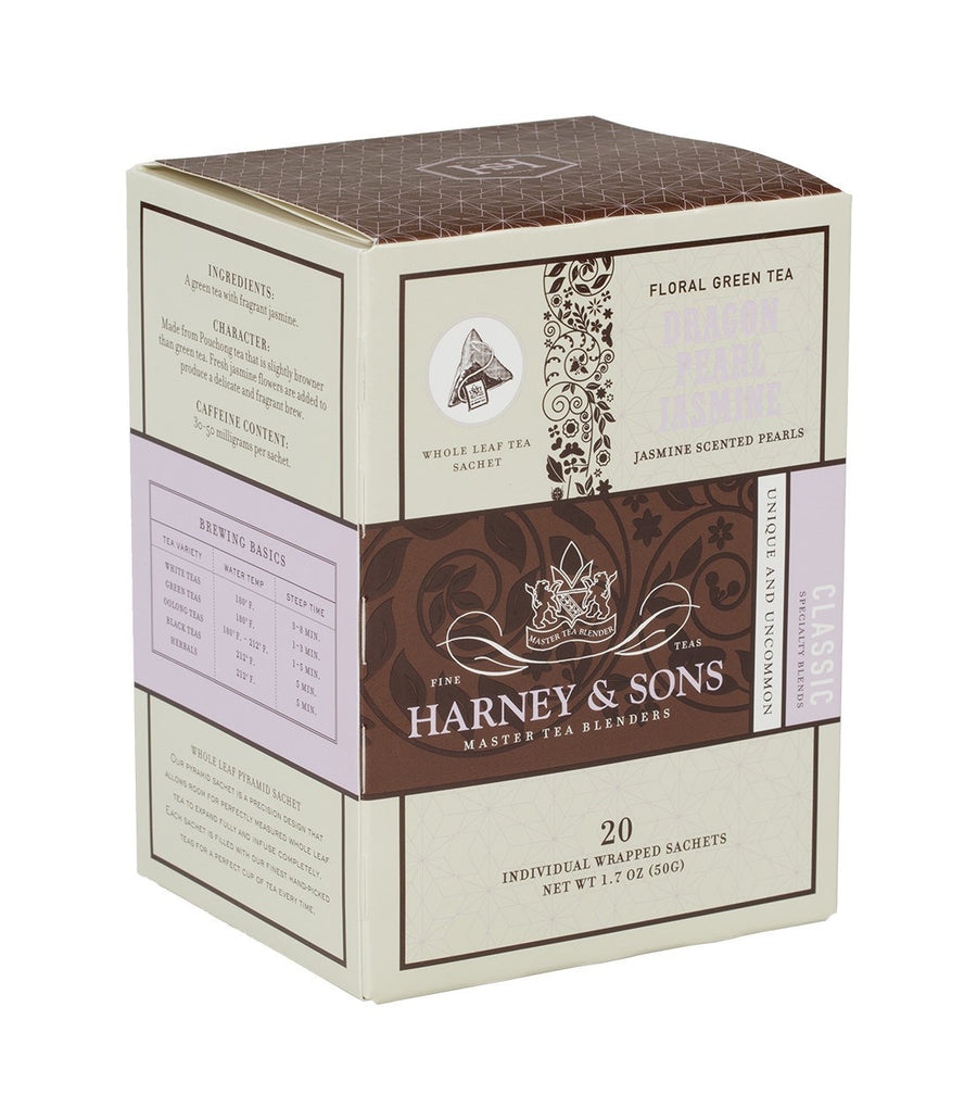 Dragon Pearl Jasmine, Box of 20 Individually Wrapped Sachets -   - Harney & Sons Fine Teas