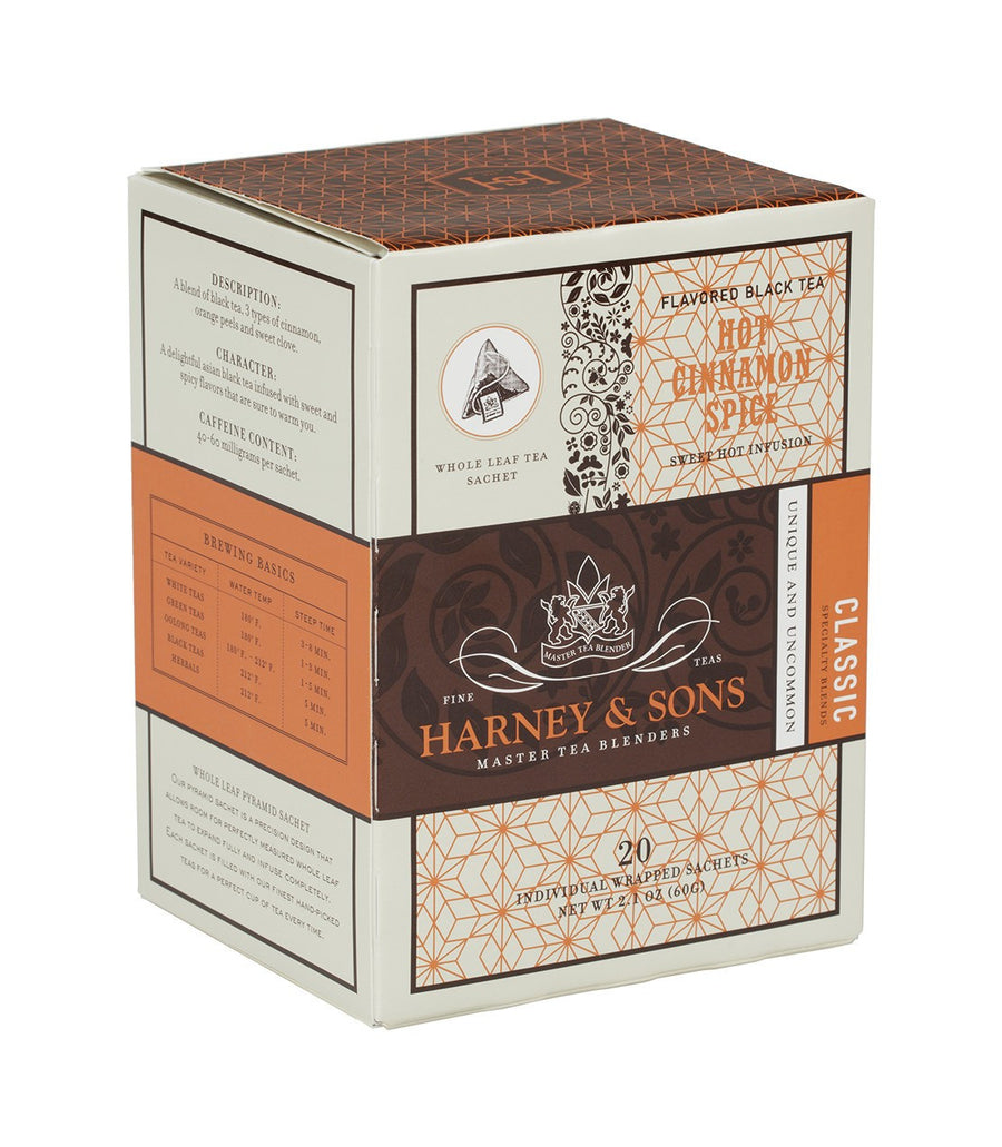 Hot Cinnamon Spice, Box of 20 Individually Wrapped Sachets -   - Harney & Sons Fine Teas