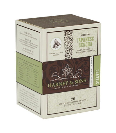 Japanese Sencha - Sachets Box of 20 Individually Wrapped Sachets - Harney & Sons Fine Teas
