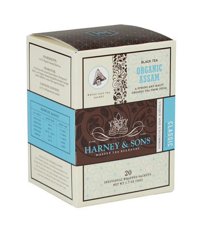 Organic Assam - Sachets Box of 20 Individually Wrapped Sachets - Harney & Sons Fine Teas