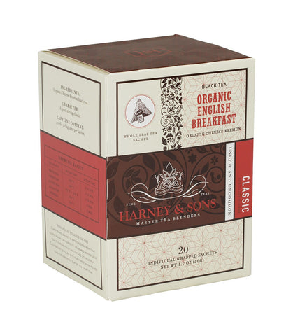 Organic English Breakfast, Box of 20 Individually Wrapped Sachets