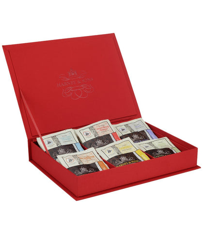 Red Linen Tea Chest Featuring Six Teas