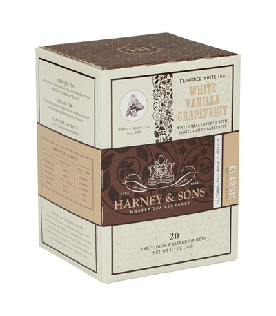 White Vanilla Grapefruit - Sachets Box of 20 Individually Wrapped Sachets - Harney & Sons Fine Teas
