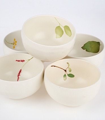 Botanical Design Cups –- Set of Five