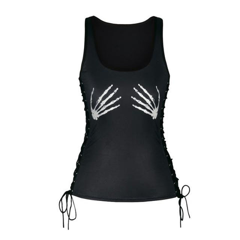 Skull Face - Skeleton Hands Halter