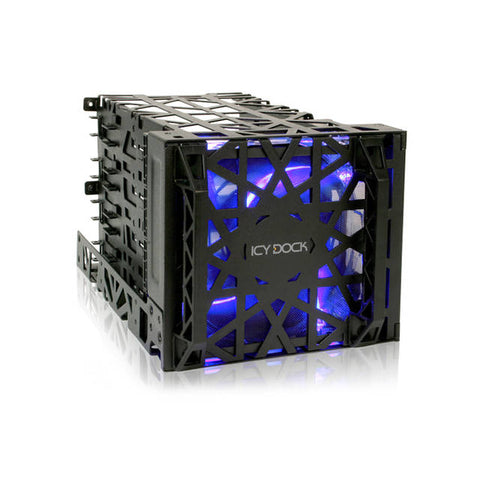 ICY DOCK Black Vortex MB074SP-B 4 Bay 3.5 inch Hard Drive Cooler Cage with 120mm Front LED Fan in 3x External 5.25 inch Bay (Black)