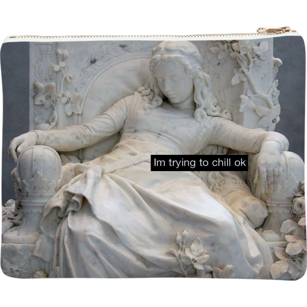"Neoprene clutch ""I'm trying to chill ok"""