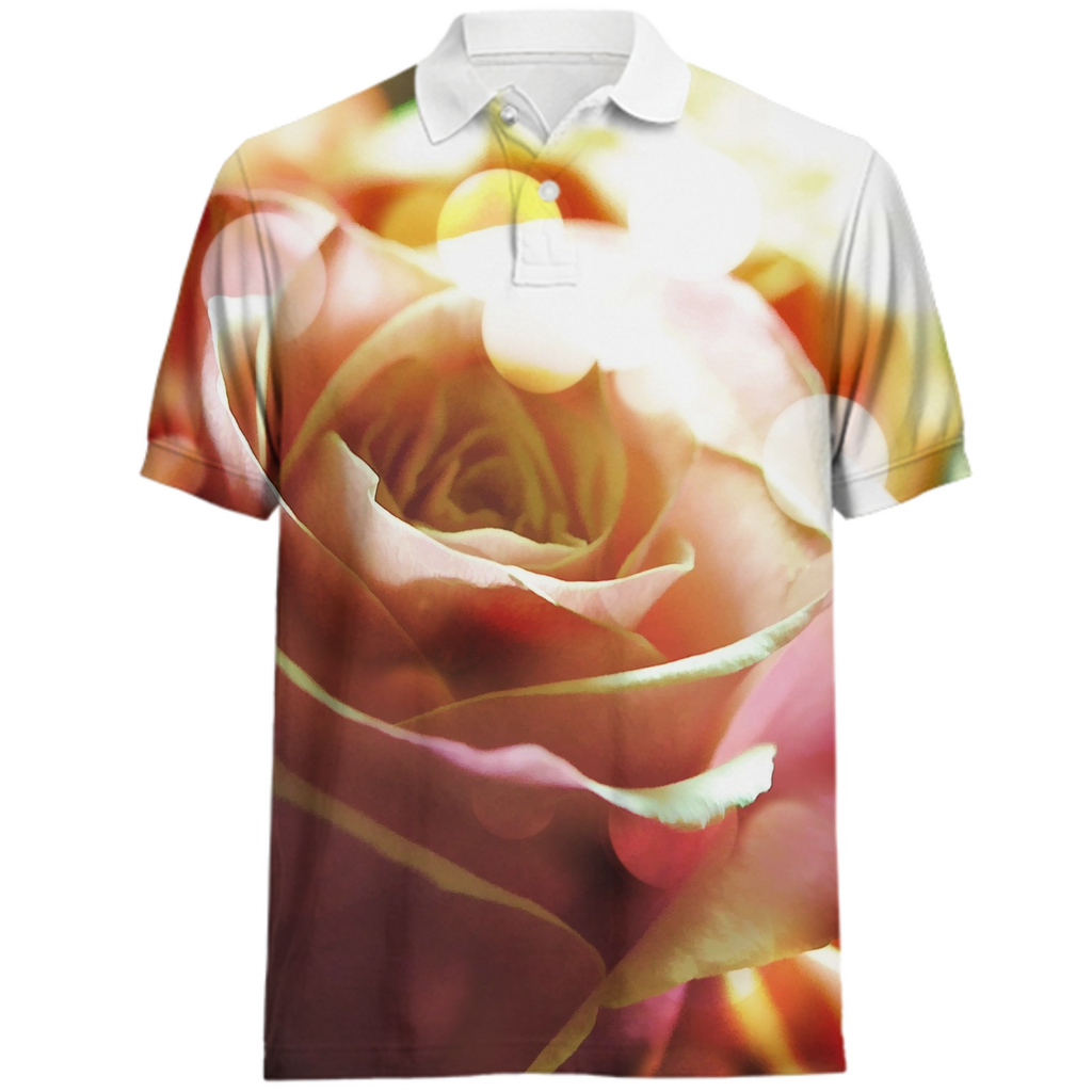 Pink Rose In Sparkling Light Polo Shirt
