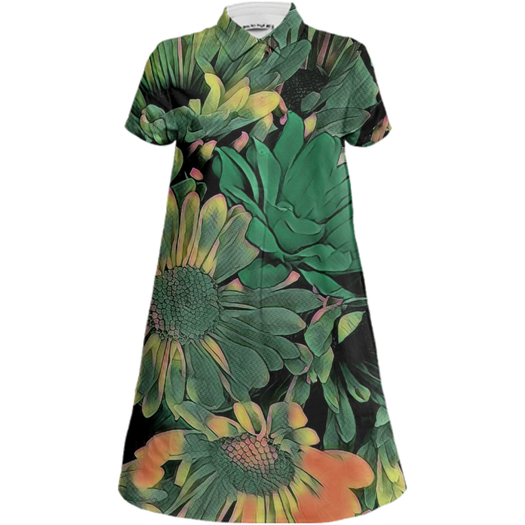 Green Blossoms Mini Shirt Dress