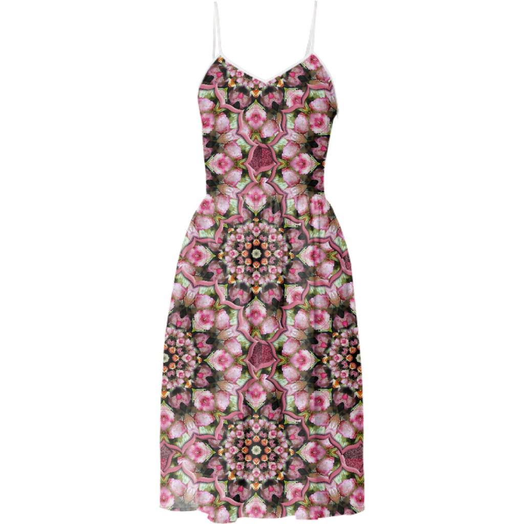 Pink Rose Kaleidoscope Summer Dress