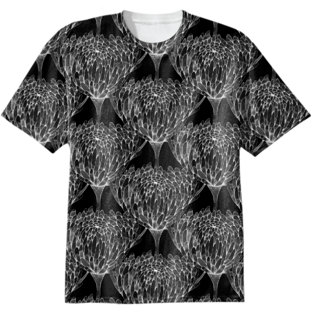 Chrysanthemum Crowd Black on black Cotton T-shirt