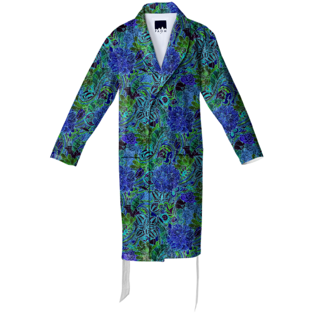 Blue Green Flower Pattern Cotton Robe