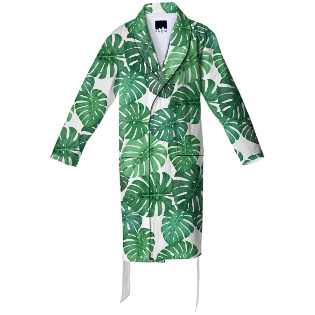 Monstera Jungle Cotton Robe by Frank-Joseph