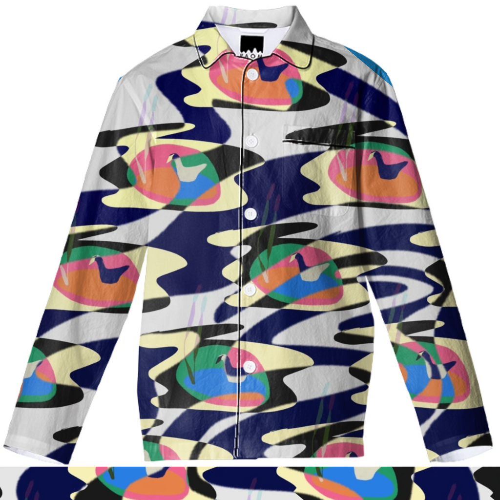 Psychedelic duck pond pajama top
