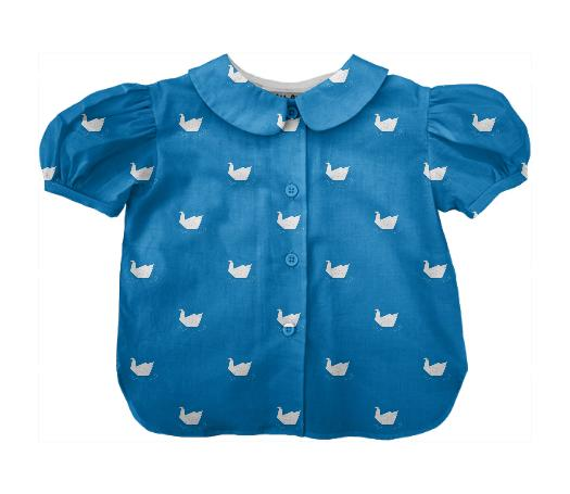 Origami Swan Lake Pattern Kids Blouse Blue SP