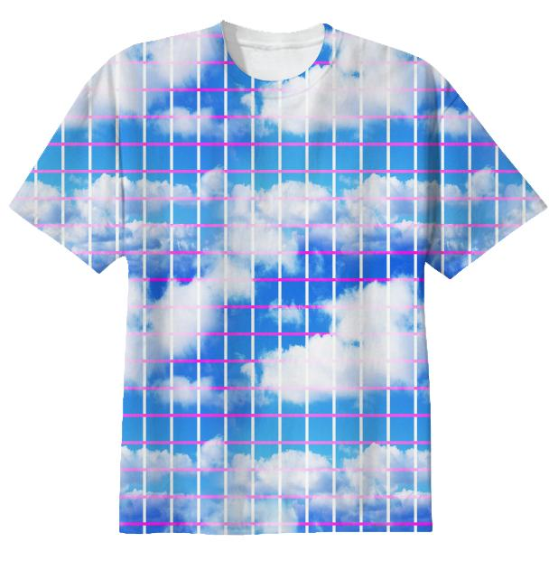 Cloud 7 Grid Paper Print T shirt