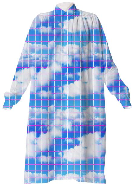 Cloud 7 Grid Paper Print Shirtdress