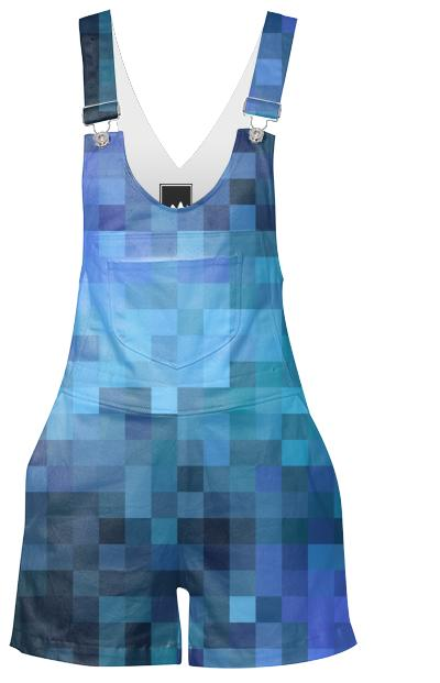 Blue Pixels Shorteralls