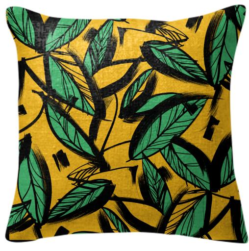 jungle yellow pillow