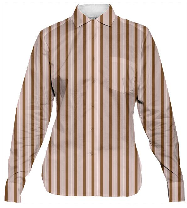 Women s Button Down Shirt Striped in Taupe and Peach