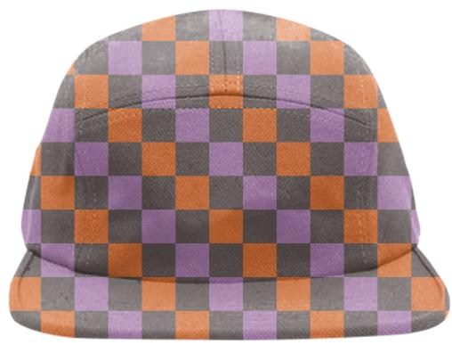 Abstract Checkered Basball Cap Taupe Ornage and Pinkact Flow in Yelo Black and Grey Baseball Cap