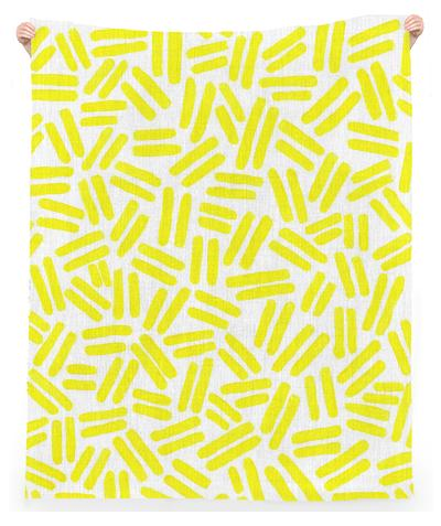 Yellow Dash Linen Beach Throw