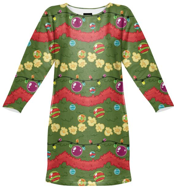 Festive Tree Sweatshirt Dress
