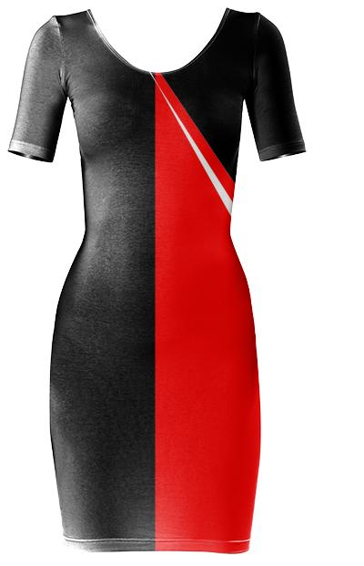 Jean Marie Bowcott Abstract Body Con Dress Rouge Noir Blanc