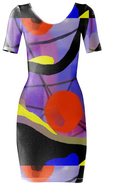Jean Marie Bowcott Abstract Body Con Dress