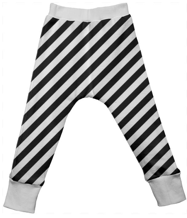 Black White Stripe Drop Pant