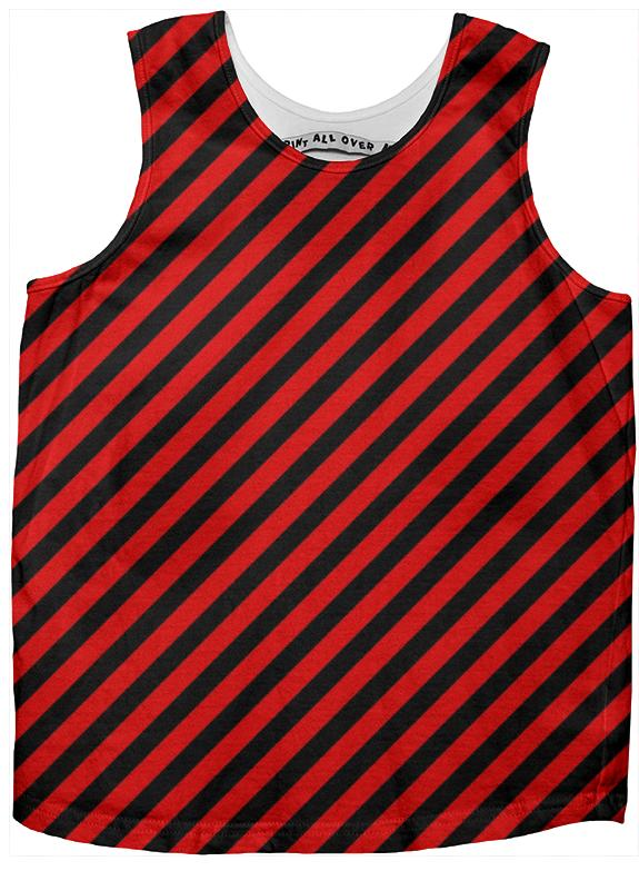 Black Red Small Stripe Tank Top