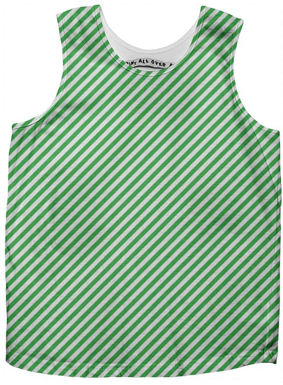 Green White Small Stripe Tank Top