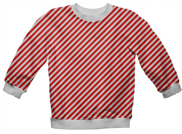 PAOM, Print All Over Me, digital print, design, fashion, style, collaboration, paomkids, Kids Sweatshirt, Kids-Sweatshirt, KidsSweatshirt, Red, White, Small, Stripe, autumn winter spring summer, unisex, Poly, Kids